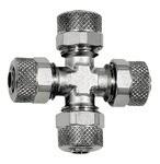 Kreuzverbindung, für Schlauch 6/4 mm, SW 8, Messing vernickelt