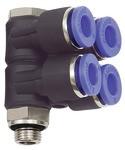 L-Mehrfachverteiler »Blaue Serie«, 4-fach, drehbar, G 1/8 a. Ø6mm