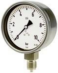 Manometer, CrNi-Stahl, G 1/2 radial unten, 0 - 1,6 bar, Ø 100