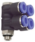 L-Mehrfachverteiler »Blaue Serie«, 4-fach, drehbar, G 1/8 a. Ø8mm